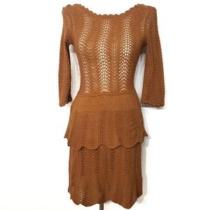 Knitted & Knotted Tiered Pointelle Open Knit Dress